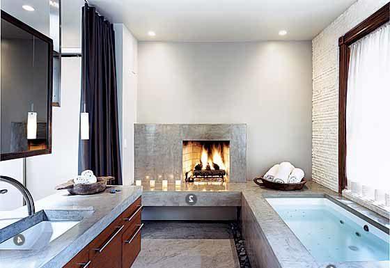 камин в ванной