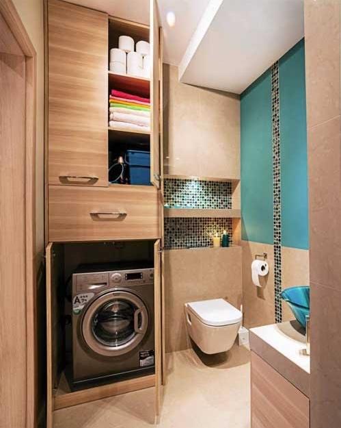 стиральная машина в нише в ванной